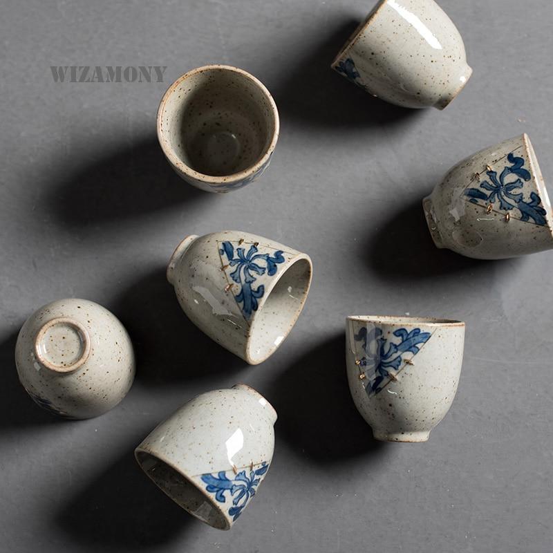 WIZAMONY 2 قطعة!! طقم شاي الكونغ فو ، 2 أكواب زرقاء وبيضاء عتيقة ، إبريق شاي أنيق ، غلاية ، شاي صيني