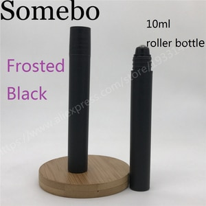 500pcs/lot 10ml Empty Frosted Black Plastic Essential oil Roll On Bottle Vials with steel metal roller ball for perfume