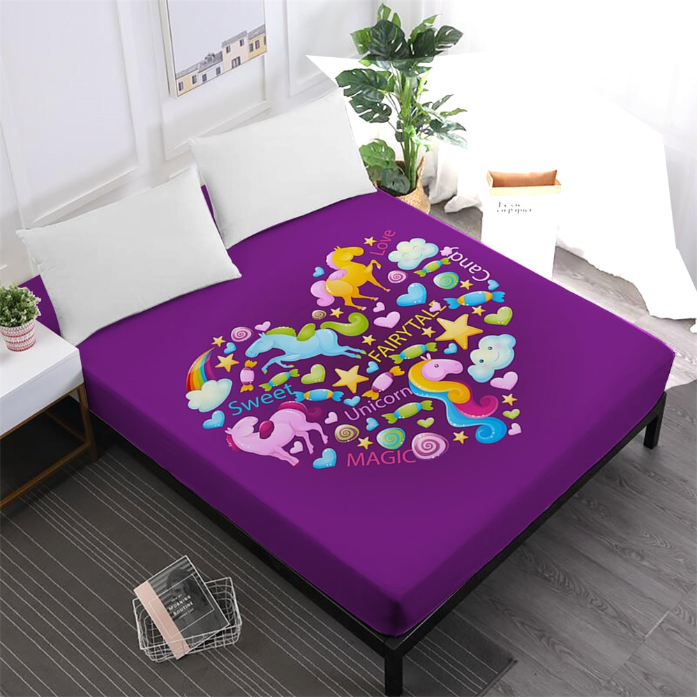 Purple Unicorn Heart Print Bed Sheet Kids Colorful Cartoon Fitted Sheet 100% Polyester Deep Pocket Mattress Cover Home Decor D25
