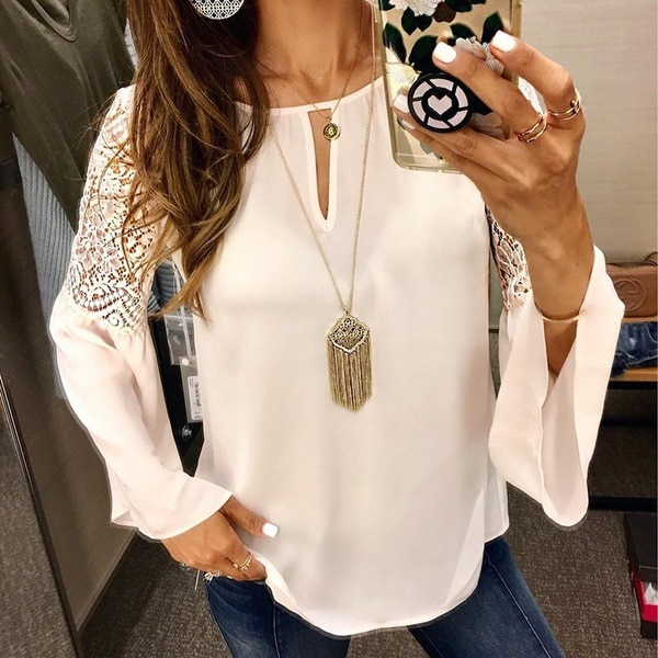 Blusa blanca de chifón, blusas de oficina para mujer, Top de encaje, manga larga, camisa de verano primavera para mujer, de talla grande, 4XL, 5XL, Blusa elegante femenina