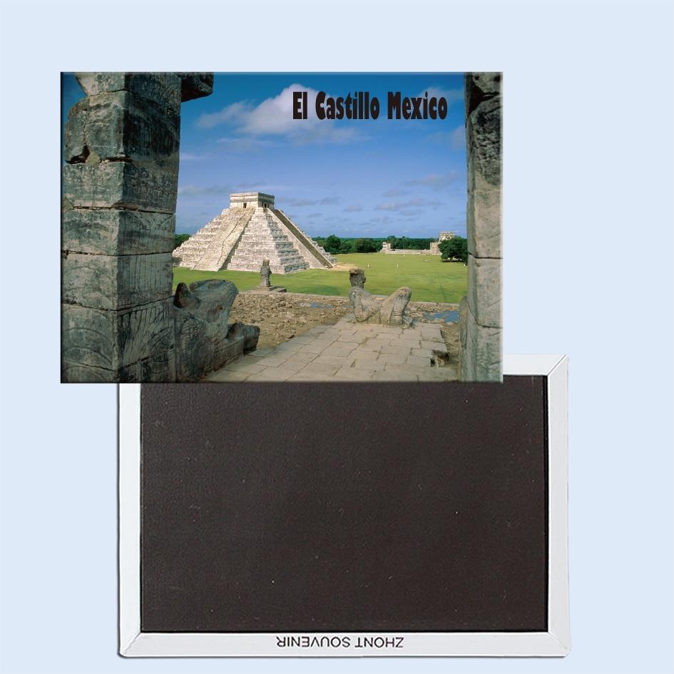 El Castillo, Chichen Itza (maya Toltec), meksika, manyetik buzdolabı çıkartmalar, turistik hediyelik, küçük hediyeler 24763