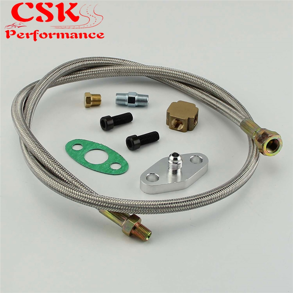 T3 / T4 Turbo Oil Feed Line Kit Universal Braided Adapter T04e T60 T70 GT Kit