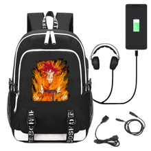 New Dragon Ball Son Goku Super Saiyan Kakarotto USB Backpack School Bookbag Knapsack Cosplay Black Laptop Travel Shoulder Bag