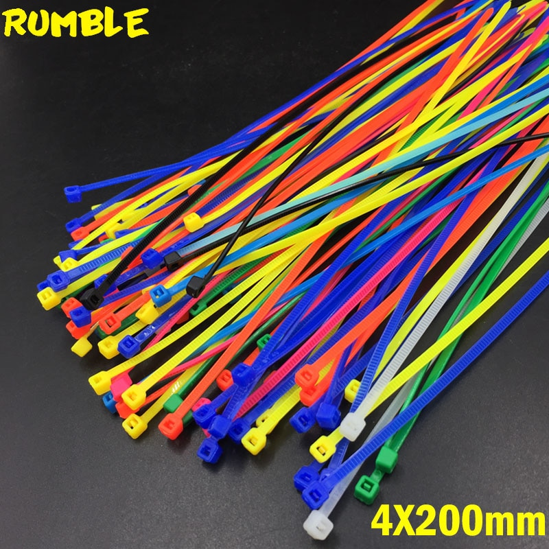 4X200MM de auto-bloqueo de Cable de nylon tirantes 100 Uds Color de la mezcla de Cable Fasten Cable de lazo de Color diferente