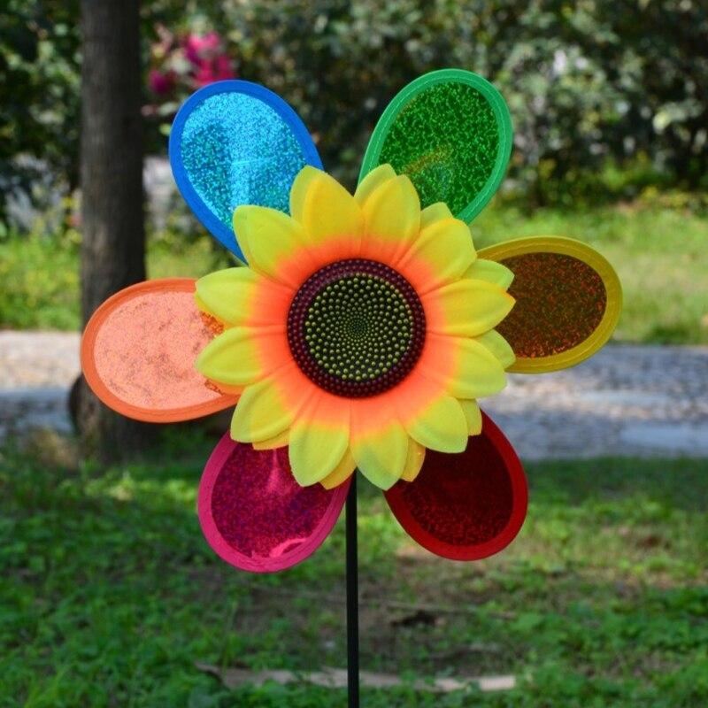 OOTDTY colorido lentejuelas Molino de girasol Spinner de viento decoración del jardín del hogar