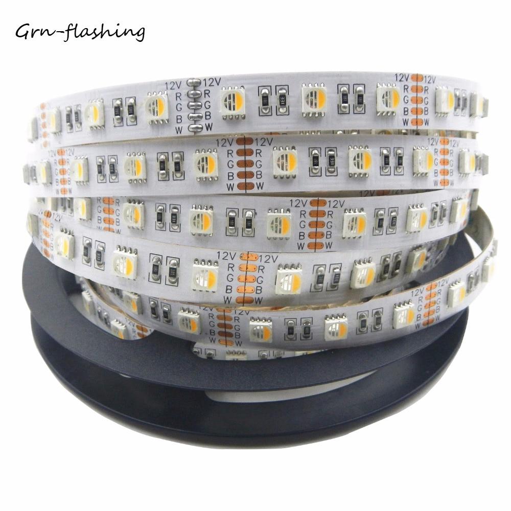 4 colores en 1 tira led RGBW 24V CC 12V smd 5050 60LED/m 5 m/rollo Flexible IP 20 tira de luz LED RGB + blanco/RGB + blanco cálido