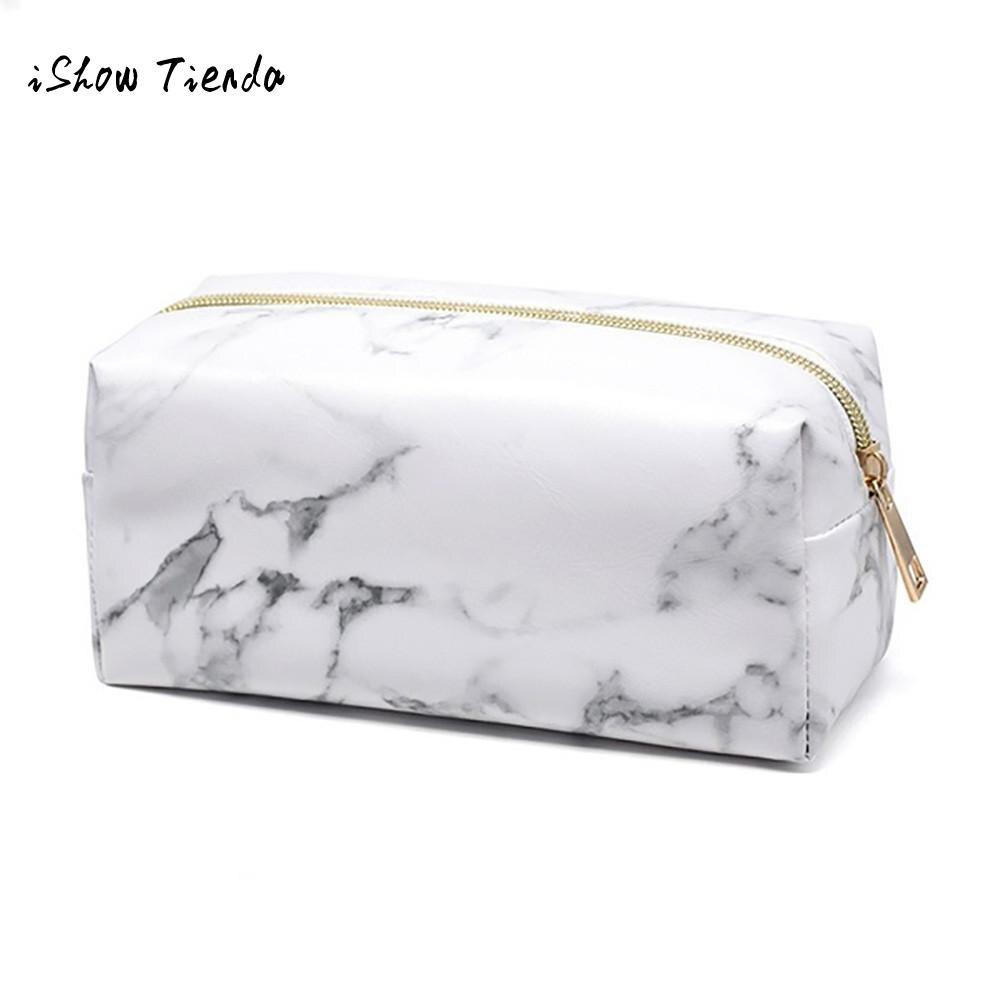 Bolsa de almacenamiento con estampado de mármol para brochas de maquillaje, neceser de viaje para belleza, organizador para lavar artículos de aseo, kit de aseo