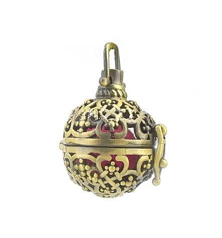 33x23mm tono bronce antiguo difusor de aceite esencial filigrana hueco redondo Chiming guardapelo de bola jaula colgante hallazgos DIY artesanía