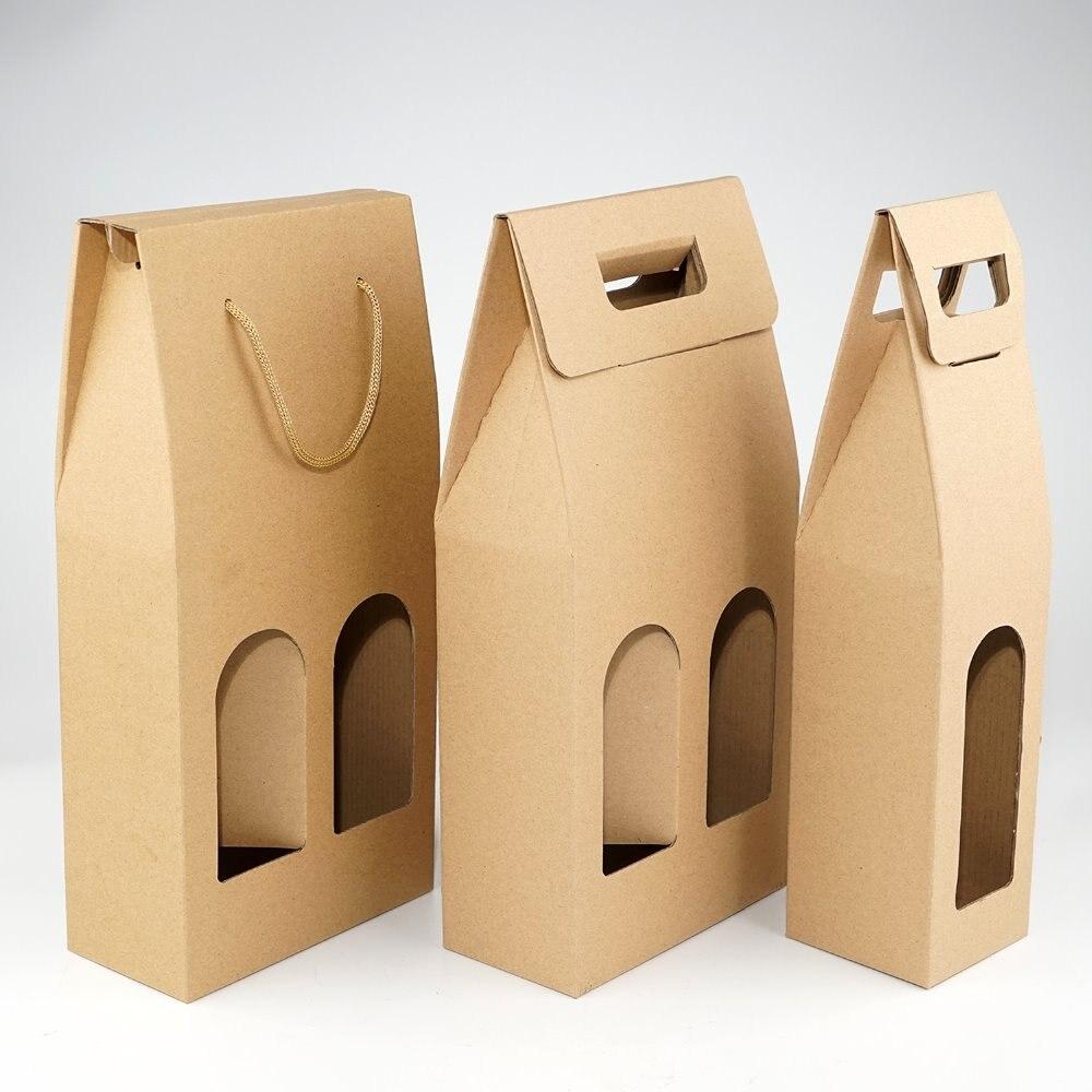 Bolsas de papel Kraft para vino, embalaje con logotipo estampado en caliente, portador de botellas de champán de aceite Oliver, soporte de regalo, 50 Uds./lote envío gratis