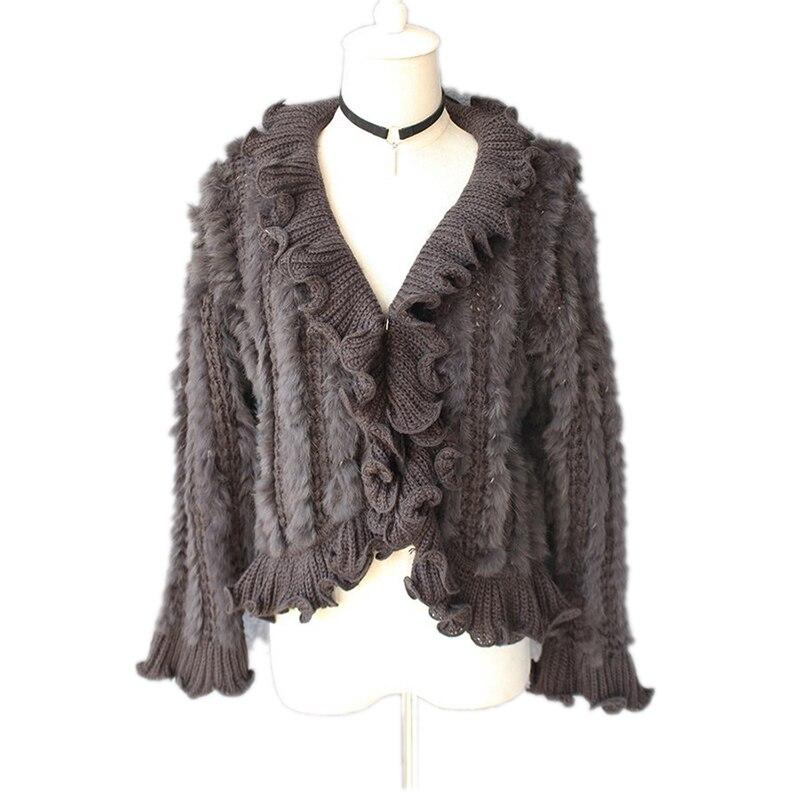 معطف نسائي من فرو الأرانب ، كارديجان ، معطف ، قبعة نسائية ، VF5018