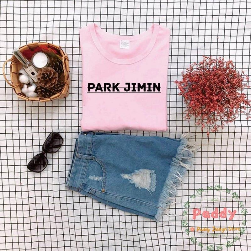 OKOUFEN moda tumblr KPOP Parque JIMIN T camisa Streetwear cuello redondo de las mujeres de algodón Casual camiseta de talla grande de la nave de la gota