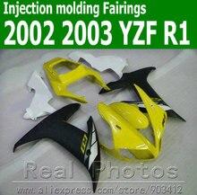 Kit de 7 caronnages pour YAMAHA 100%   Moulage par Injection 2002, jaune blanc noir, ensemble de carénages 2003 YZF R1 02 03 MX2 7 cadeaux gratuits