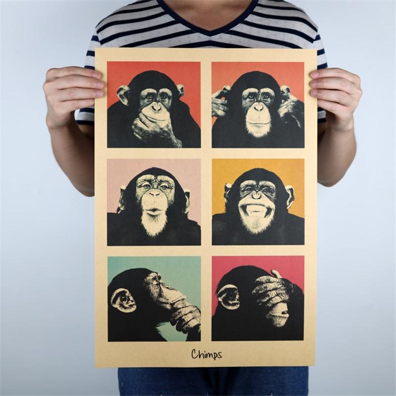 Adesivo de parede cartaz do vintage macaco retro clássico papel kraft cartaz decoração para casa quarto dos miúdos 51x35cm