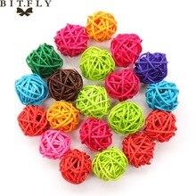 3cm 20pcs Mix color Rattan Ball diy Christmas Baby Shower Kids Birthday Wedding Home Table Decoration Kids Toys Photography