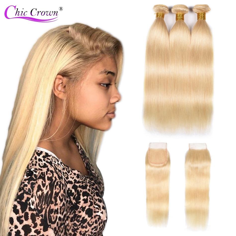 613 Bundles With Closure Blonde Bundles With Closure Brazilian Straight Human Hair 2/3/4 Bundles 613 Weave With Closure Blonde