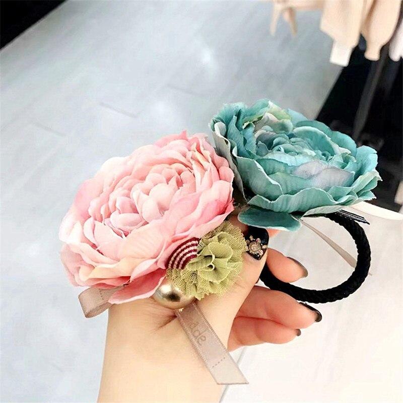 Corea tela hecha a mano flor arco nudo mujeres elástico de banda para el cabello cabeza Ropa Accesorios ropa Summer-YHAWEHB040C5