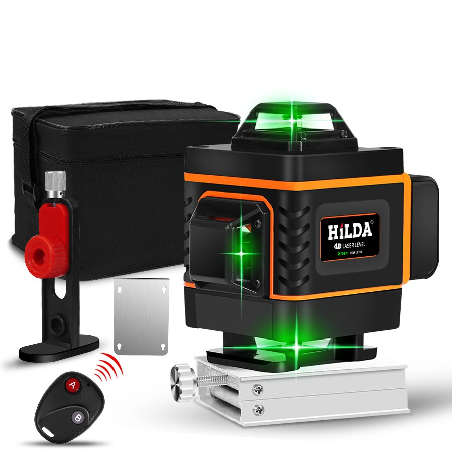 Nivel láser 16 líneas Línea Verde 4D-nivelación 360 Horizontal y Vertical súper poderoso nivel láser Rayo verde nivel láser