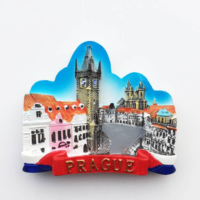 Adhesivo magnético para refrigerador cuadrado de Praga checo Lychee, imán para nevera de lugares famosos, decoración moderna para el hogar y la cocina