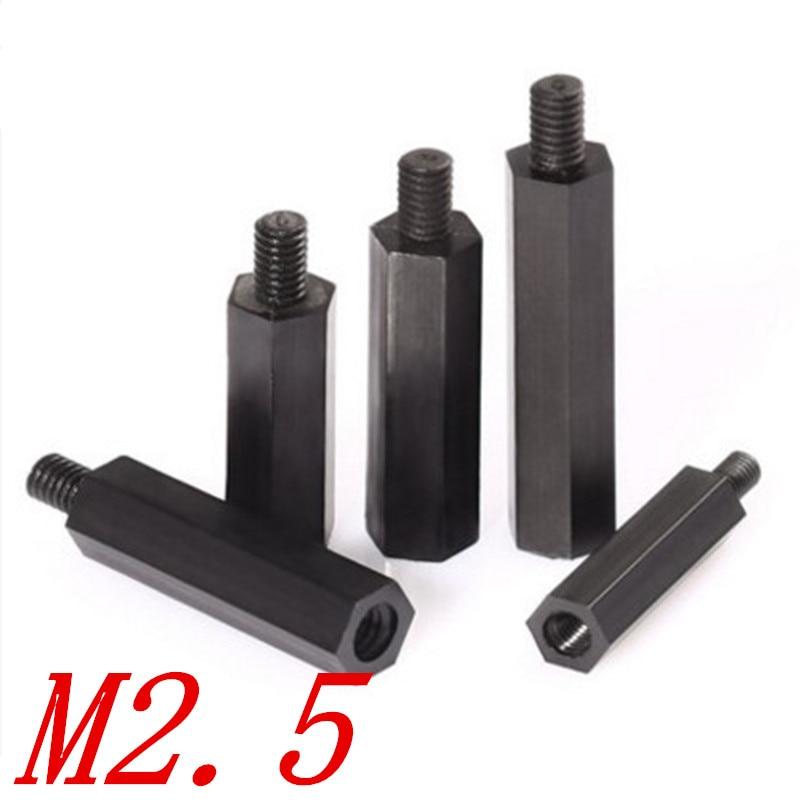50 unids/lote M2.5 * 5/6/8/10/12/15/18/20/25/30 + 6 negro Nylon separador 2,5mm macho a hembra nylon plástico tuerca hexagonal larga
