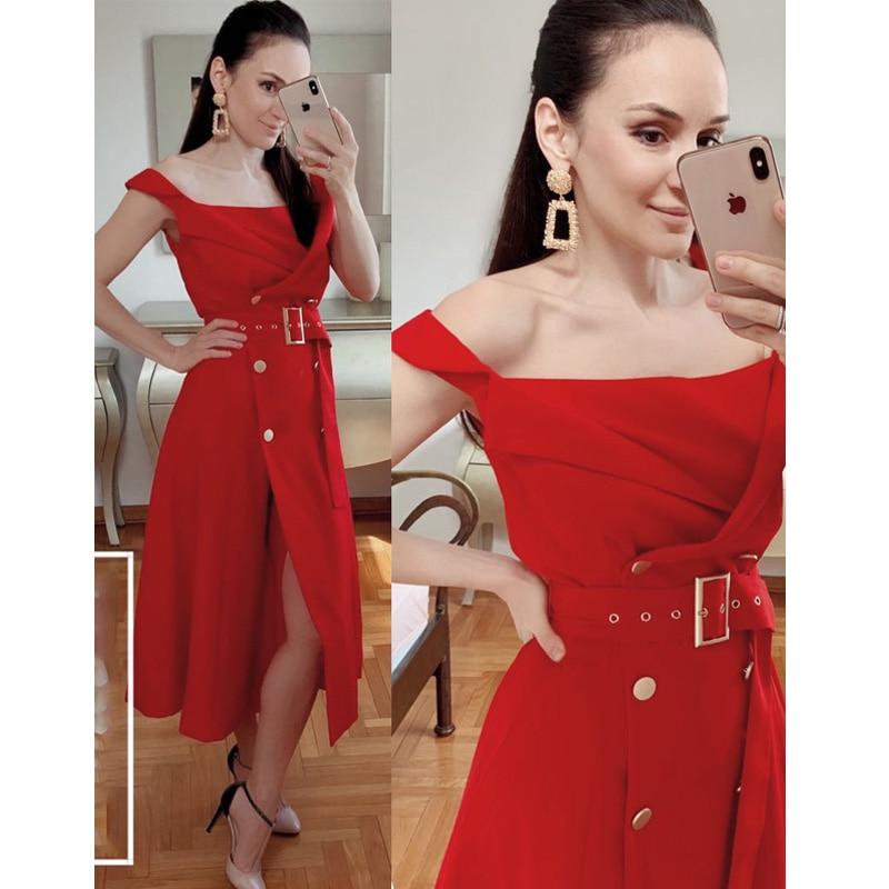 2019 Euramerican Spring Summer New Fashion Slash Neck Double Breasted Belt Medium Style High End Elegant High Quality Dress