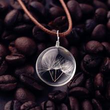 HOMOD pissenlit graine souhait vraies fleurs corde collier ras du cou femmes Vintage Boho bijoux bohème rétro cristal bijoux