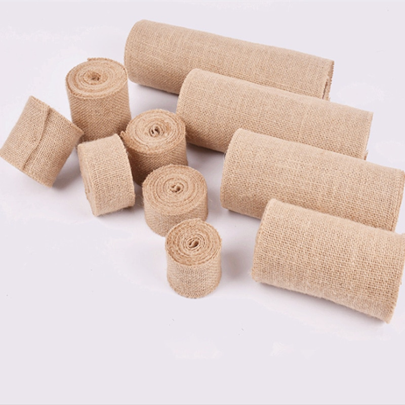 Cinta de arpillera de yute de arpillera de 2 m/lote de 2,5/3/4/6/8/10cm, cinta de arpillera de tejido de cáñamo para decoración de boda DIY, envoltura de regalo, suministros para fiesta