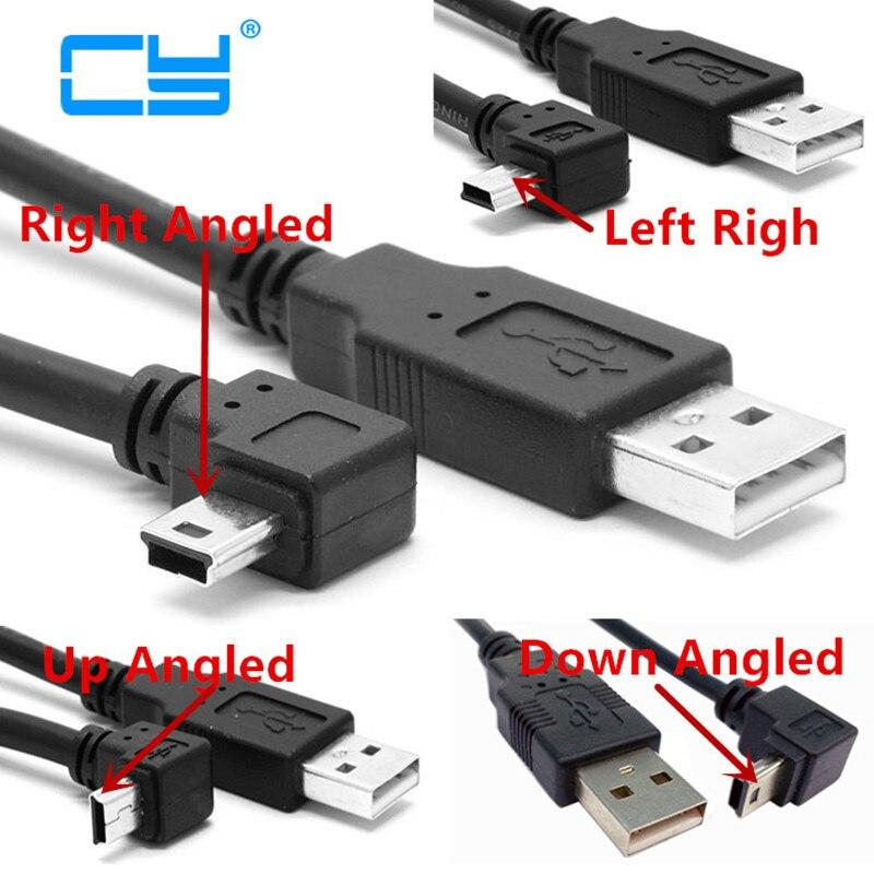 USB 2.0 Macho para Mini USB Tipo B 5pin 90 Grau Up & Down & Left & Right Angled Macho GPS Cabo de dados 0.25 m/0.5 m/1.8 m/5 m