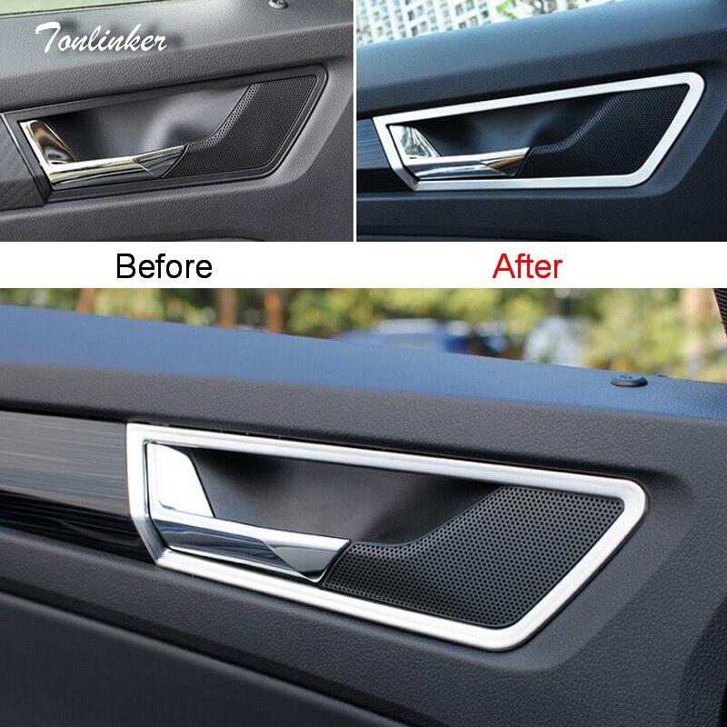 Наклейка Tonlinker s для SKODA KODIAQ 2017-18, автомобильный Стайлинг, 4 шт., наклейка из нержавеющей стали внутренней дверной ручки