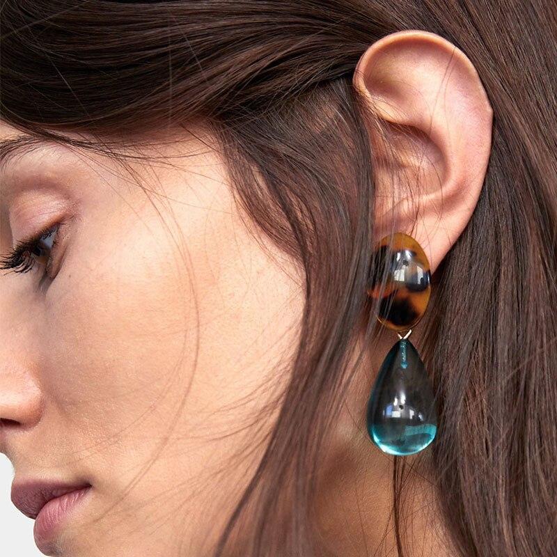 Pendientes colgantes bohemios de gota de agua za para mujer, nuevo diseño, accesorios de acrílico translúcido para pendientes ET864