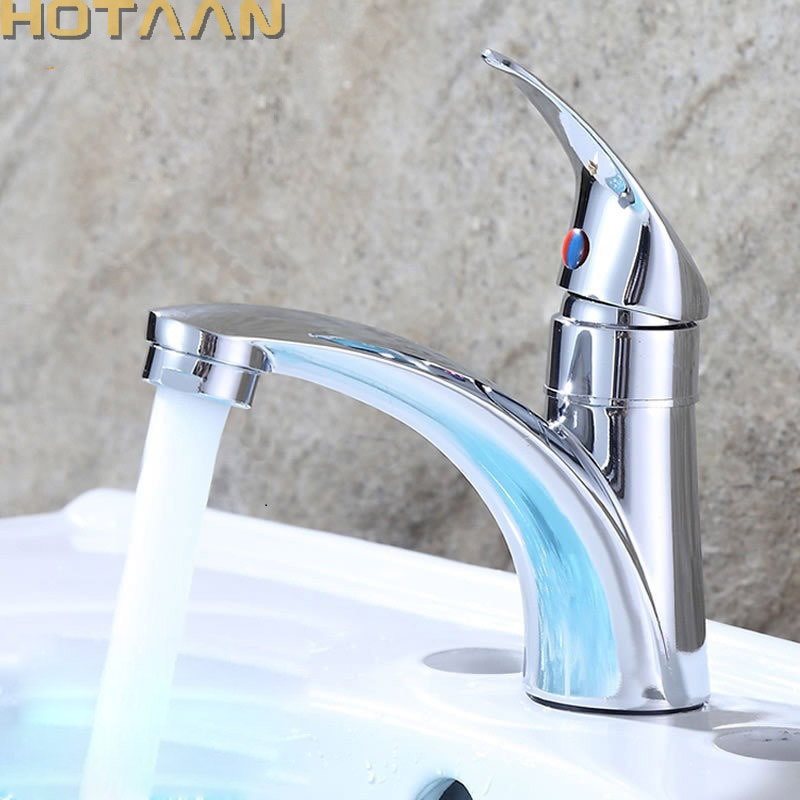HOTAAN-صنبور خلاط حمام بمقبض واحد ، ثقب واحد ، نحاس بارد ، تشطيب كروم