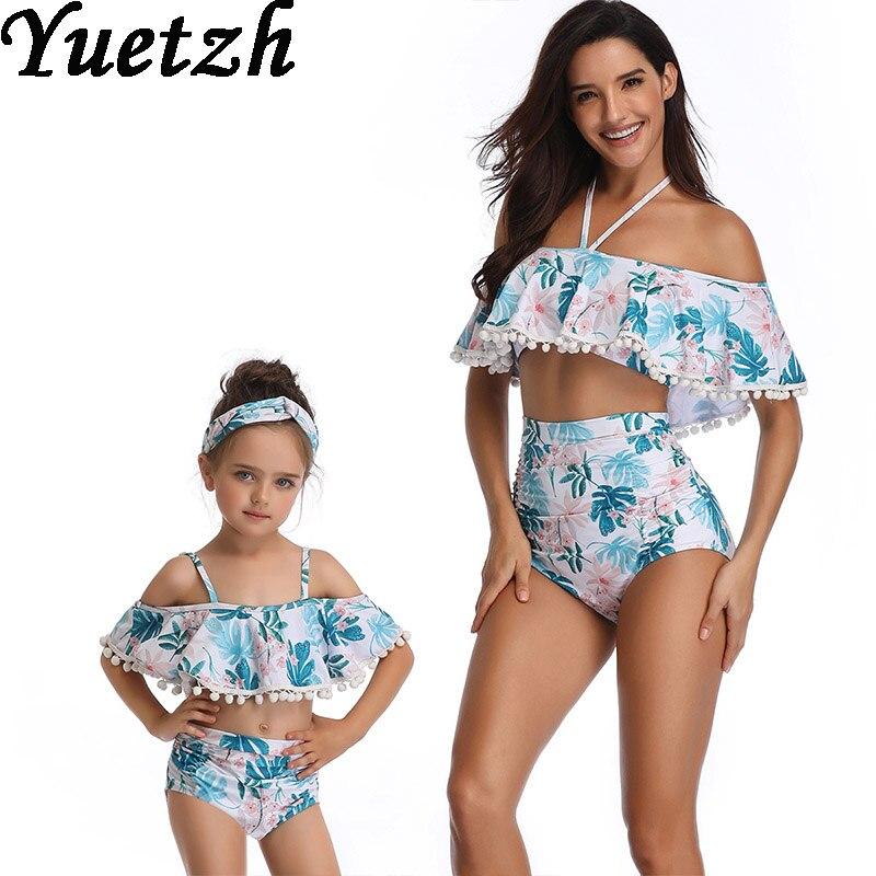 New girls swimsuit bikini women swimwear bikinis set kids child swim suit mother daugher family swim