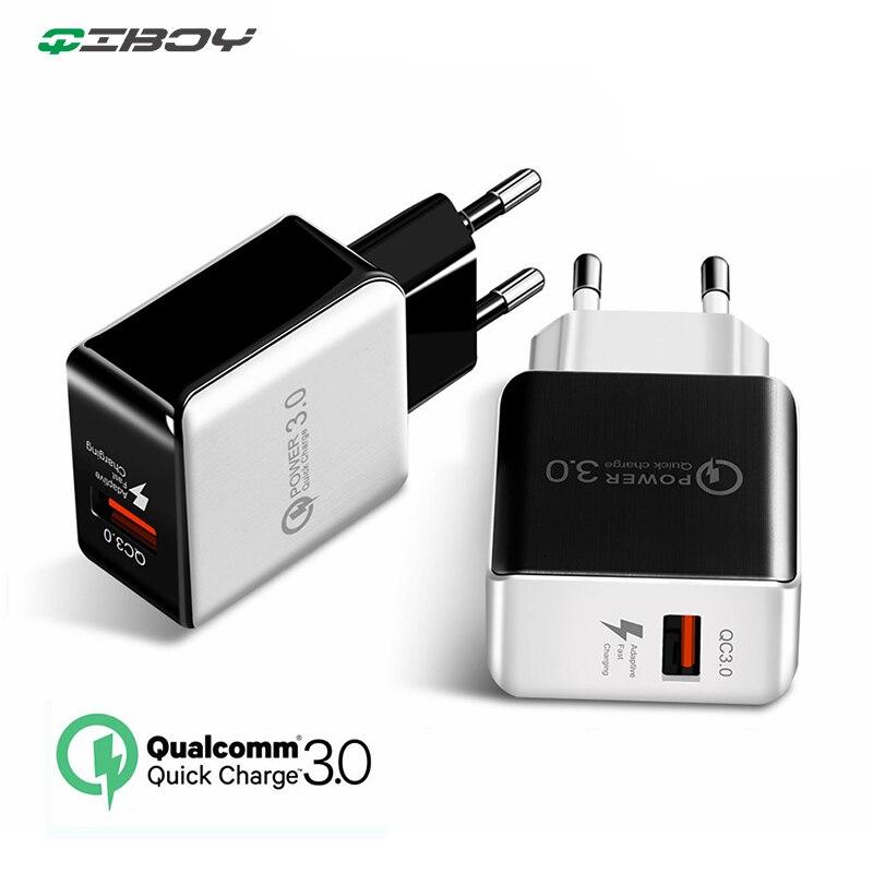 Cargador de viaje de pared con enchufe USB de carga rápida 3,0 Enchufe europeo y estadounidense cargador rápido para teléfono móvil fuente de alimentación de carga para iPhone Huawei Redmi