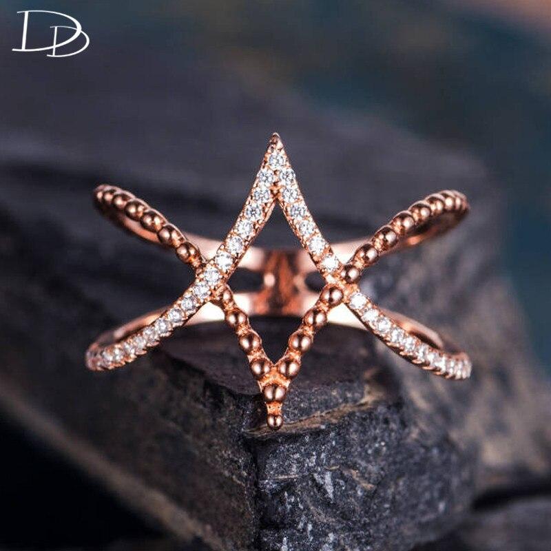 DODO único Cruz estrella anillo fresco Punk Rosa oro Color joyería pequeña AAA zirconia cúbica incrustación fiesta Bague moda Bijoux b2158