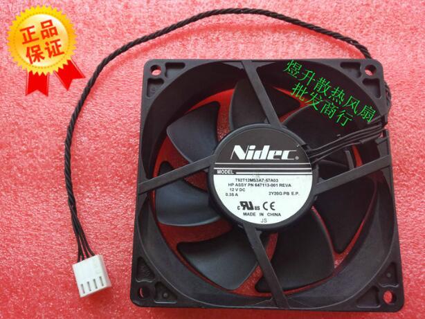 Original Nidec 9225 T92T12MS3A7-57A03 DC12V 0.35A 4 linie Z800 Z820 fan 647113-001 workstation fan