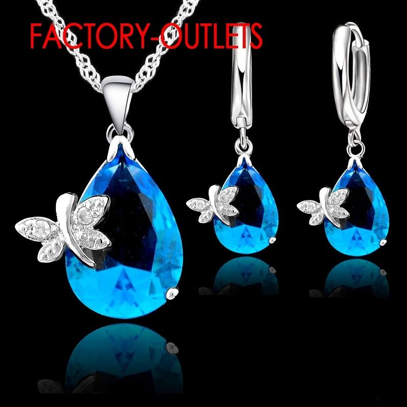 AliExpress - 925 Sterling Silver Bridal Jewelry Sets Fashion Jewelry Cute Water Drop Shap CZ Crystal Women Girls Engagement Anniversary