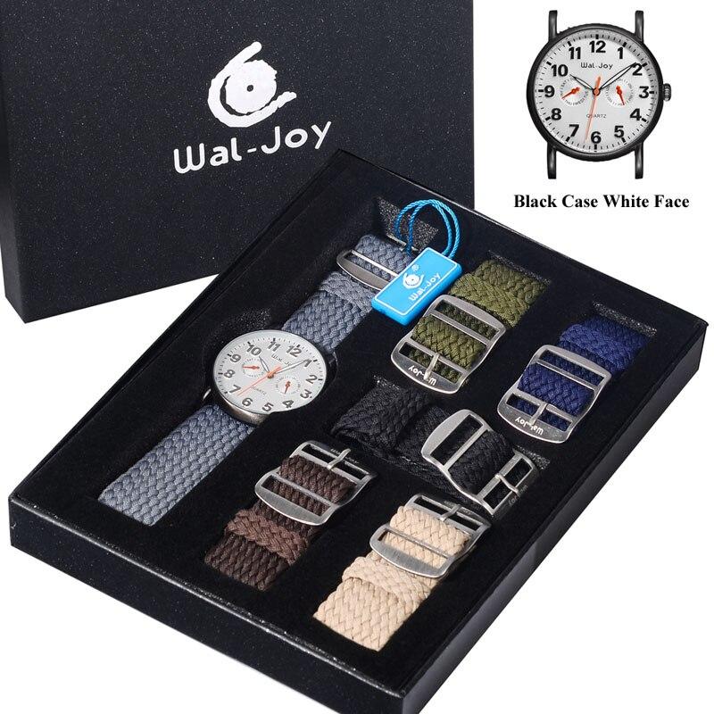 Vida à Prova Alças de Náilon Relógio de Quartzo com 6 Wal-joy Marca Moda Tendência Relógio Masculino Define Dwaterproof Água Casual Gigital Militar