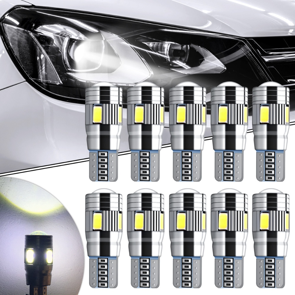 10pcs Canbus Car LED T10 W5W 6LED Parking Light For Ford Focus 2 1 Fiesta Mondeo 4 3 Transit Fusion Kuga Ranger Mustang KA S-max