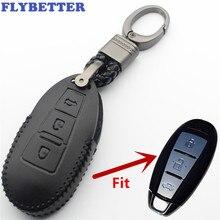 FLYBETTER Genuine Leather 3Button Key Fob Protector Keyless Entry Cover For Suzuki Swift/Kizashi/SX4/S-Cross/Maruti/Baleno L420