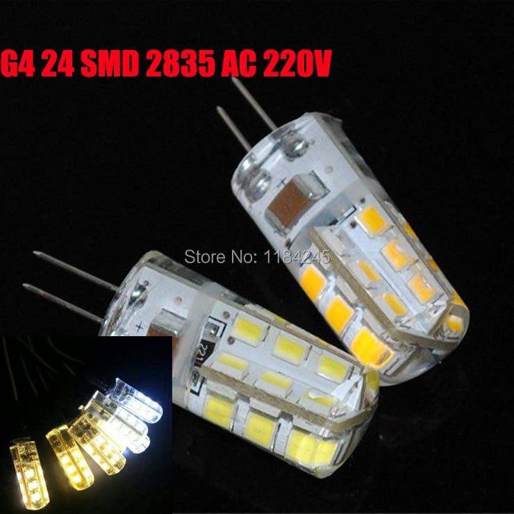 G4 24 SMD 2835 3W Warm Pure White 300LM 360 Corn Silicone LED Bulb AC 220V 5Pcs/lot