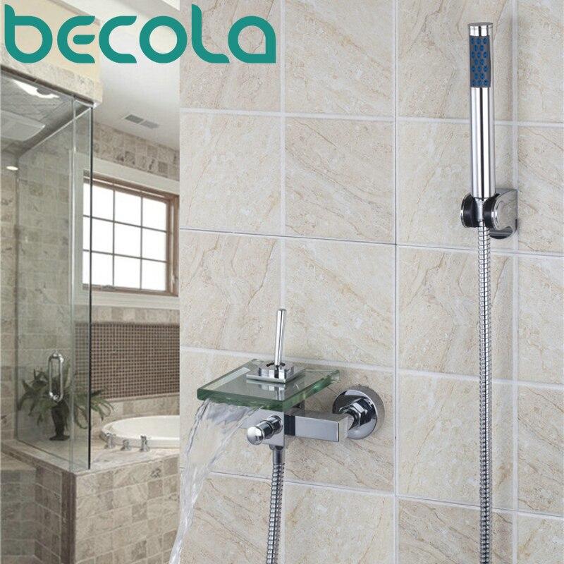 BECOLA Brand Design wall mounted glass waterfall bathtub faucet Bathroom Chrome shower faucet set LH-8003