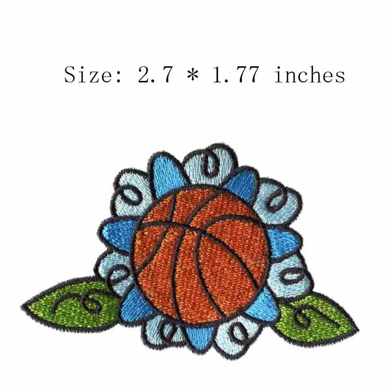 """Baloncesto con flor azul 2,7 """"bordado ancho para juego deportivo/parche bordado completo/cintas bordadas"""