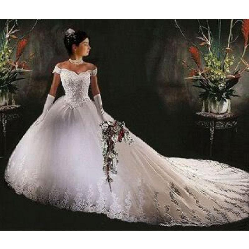 Vestido De novia Princesa 2019 Blanco/Lvory Catedral tren apliques playa Vestido De novia Vestido De boda