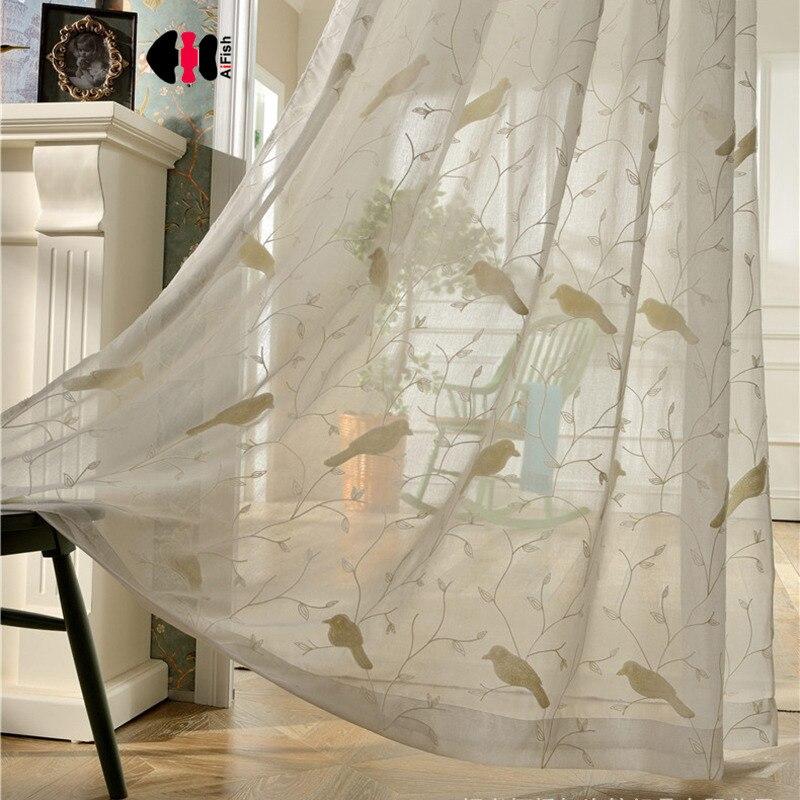 Cortinas transparentes con ramas de pájaros de Cortinas azules, cortinas de ventana de tul blanco, tela de tul bordada de lino para cortinas WP004B
