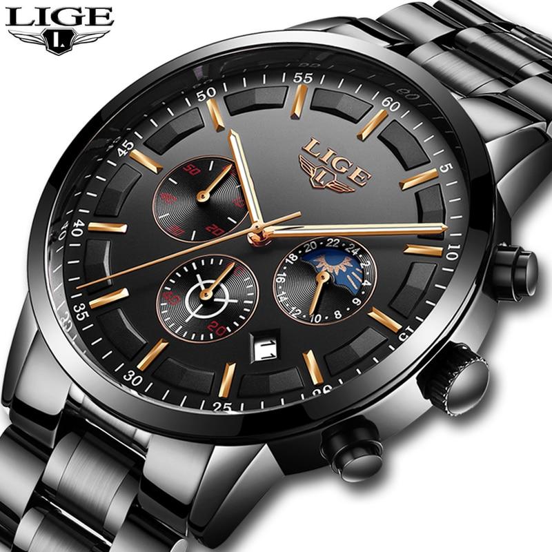Mens Watches LIGE Top Brand Luxury Men's Chronograph Date Waterproof Quartz Watch Men's Fashion Business Watch Relogio Masculino