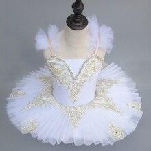 Professionnel plaqué Tutu rose blanc enfants paillettes sangles cygne lac danse Costumes Ballet justaucorps pour filles robe de crêpe