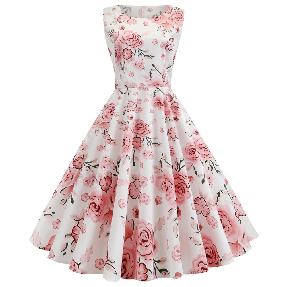 Vestido de verano Retro sin mangas de flores, Retro
