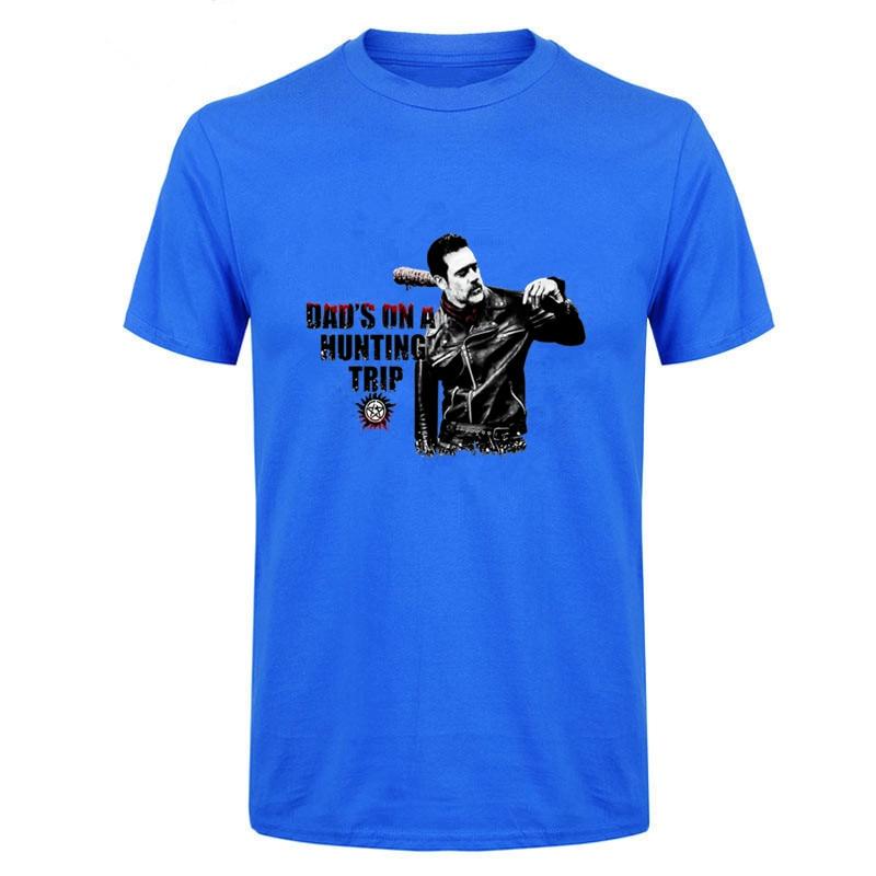 Camisetas del Día de la gran independencia para hombre, camisetas de hombre The Walking Dead - Negan Supernatural, camisetas con Cuello clásico