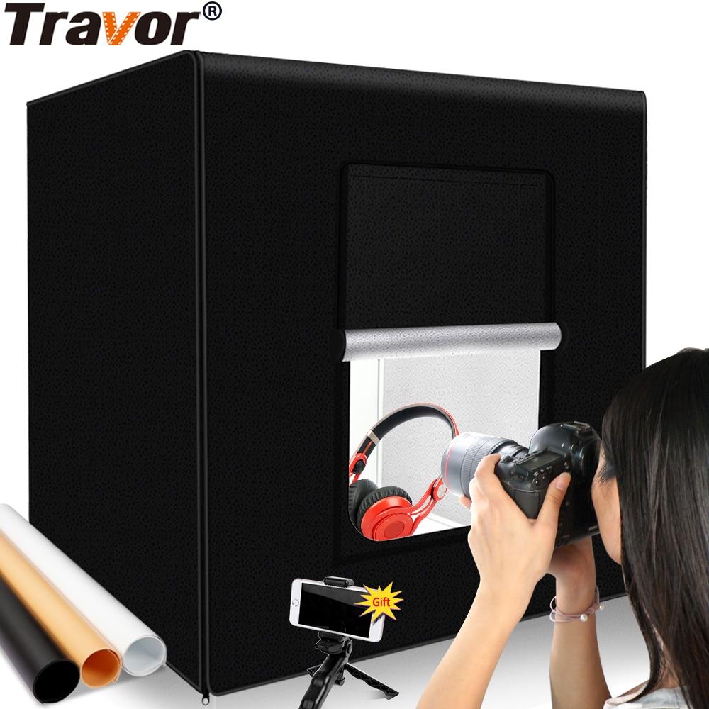 Travor التصوير استوديو العلبة الخفيفة 60 سنتيمتر 48W ضوء الصورة خيمة الطاولة اطلاق النار SoftBox مع 3 ألوان خلفية الصورة مربع