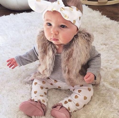 Newborn Baby Girl Clothing Set Cotton Grey Long Sleeve Bodysuit +Legging pants+Headband 3pcs suit Bebe Girls Clothes Outfits