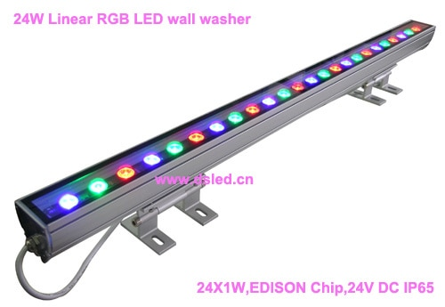 IP65, CE, de boa qualidade, 24 w Linear de alta potência RGB LED da arruela da parede, linear 24 w RGB CONDUZIU a luz de lavagem, 24*1 w, 24VDC, DS-T11-100cm-24W-RGB,